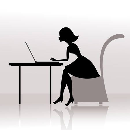 Girl at the computer prints Vector