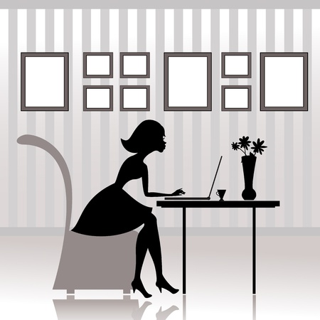 laptop silhouette: Girl in the office prints