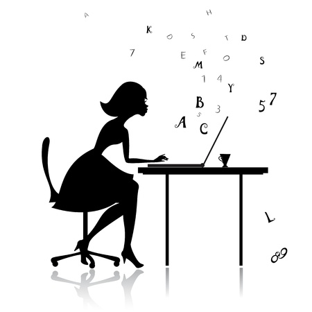 Girl at the computer prints Stock Vector - 13572541