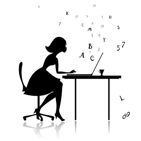 mecanografía: Niña en las impresiones de ordenador Vectores