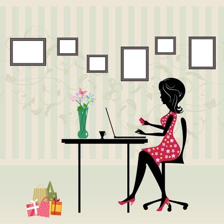computadora caricatura: La muchacha est� comprando una computadora Vectores