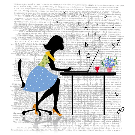 Girl working at the computer Vector