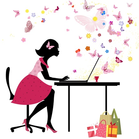 Girl loves to shop online Vector