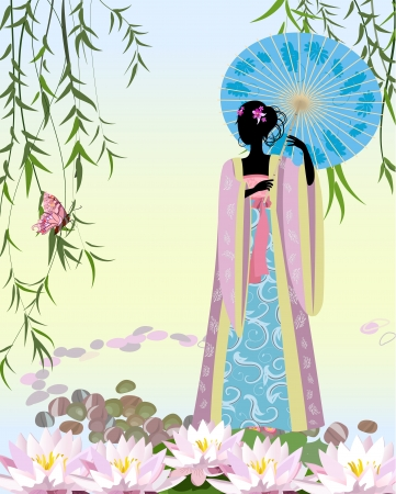 Chinese Girl with an umbrella the pond Vector