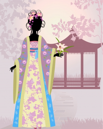 Chinese girl a landscape Stock Vector - 13786292