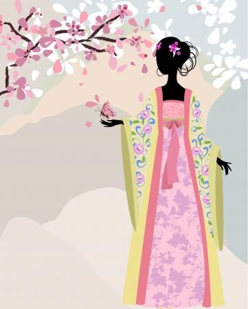 beautiful girl kimono under the sakura Stock Vector - 13786296