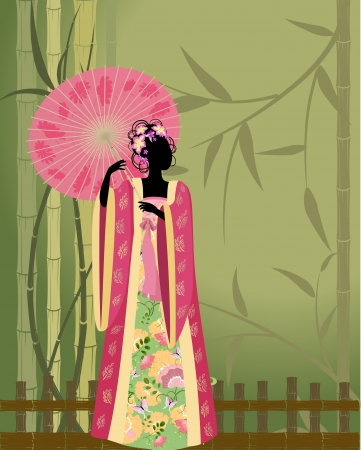 beautiful girl in a kimono Vector