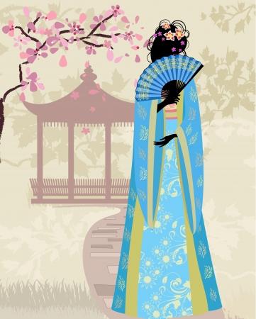 kimono muchacha hermosa con el sakura