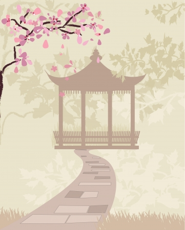 pagoda gate china with cherry blossoms Vector