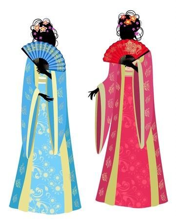 Chinese girl in a beautiful kimono Stock Vector - 13800956