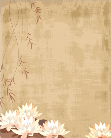 lotus leaf: grunge pattern with lilies