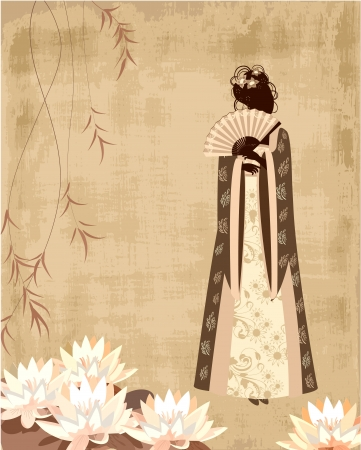 Chinese girl on the old grunge paper Vector