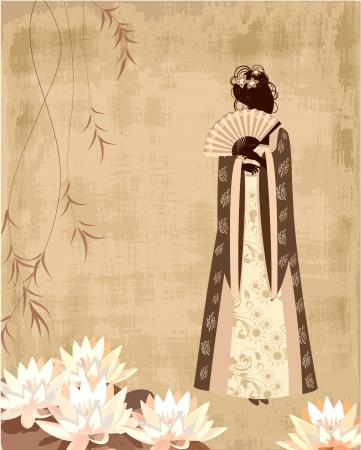 geisha kimono: Chinese girl on the old grunge paper