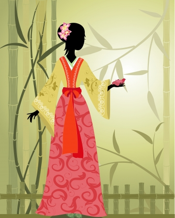 Chinese girl bamboo grove Vector