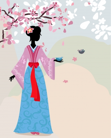 beautiful girl kimono under the sakura Stock Vector - 13800944