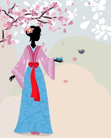 beautiful girl kimono under the sakura Stock Vector - 13800944