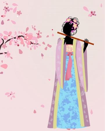 beautiful girl kimono under the sakura Vector