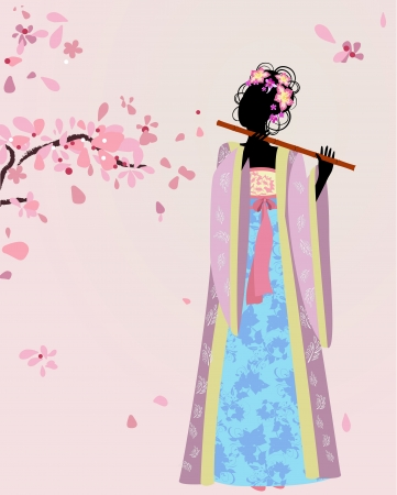 beautiful girl kimono under the sakura Stock Vector - 13800951