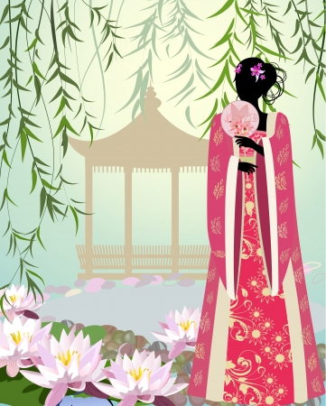 Chinese girl a landscape Stock Vector - 13800953