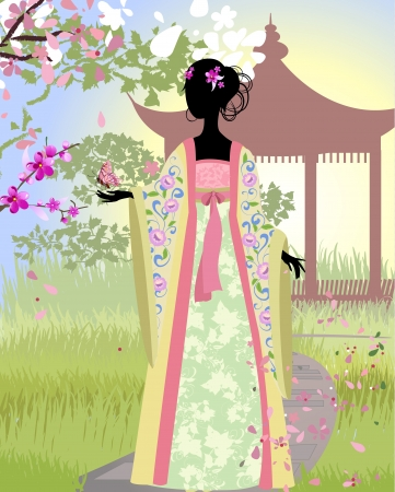 Chinese girl a landscape Vector