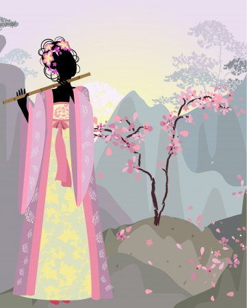 beautiful girl kimono under the sakura Stock Vector - 13800961