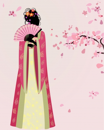 beautiful girl kimono under the sakura Stock Vector - 13800949