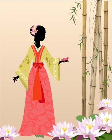 Chinese girl on pond Stock Vector - 13800945