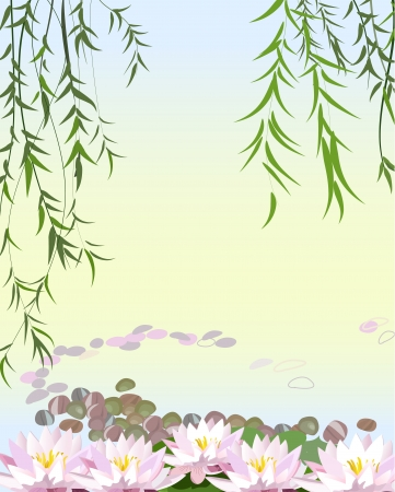 willows: Water the plant with lily Illustration