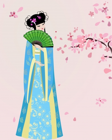 chinese fan: cherry blossom and a girl in national costume