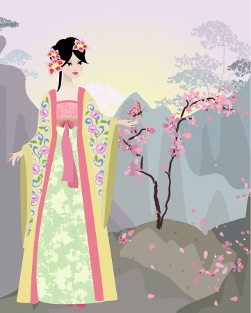 chinese dress: Chinese landscape with girl