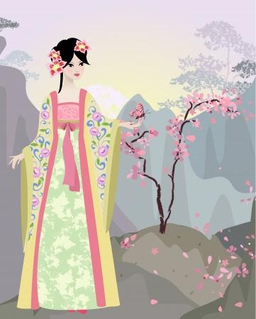 kimono: Paisaje chino con la chica Vectores