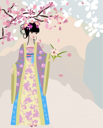 geisha kimono: cherry blossom and a girl in national costume