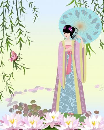kelet ázsiai kultúra: Kínai lány öltözött a tó