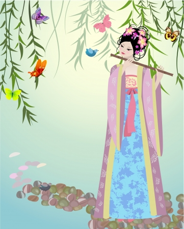 Chinese girl dressed at the lake Stock Vector - 14173557