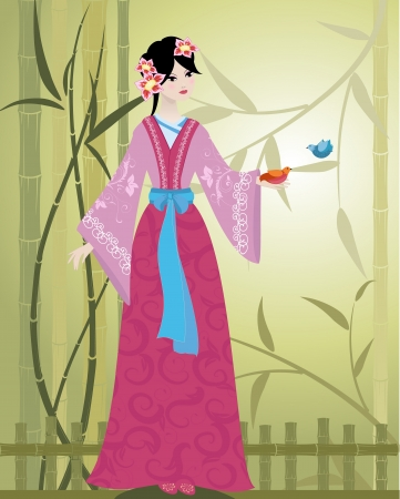 japanese kimono: Chinese Girl with birds Illustration