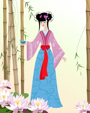 chinese dress: Chinese Girl with birds Illustration