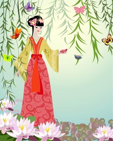 geisha kimono: Chinese Girl with birds Illustration