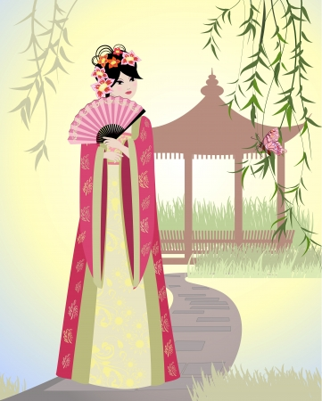 Chinese landscape with girl Stock Vector - 14173553