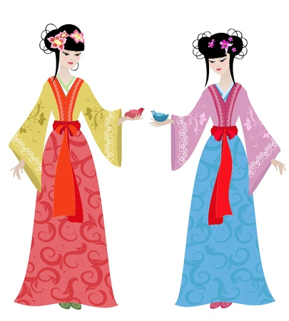 chinese dress: Beautiful girls in costumes