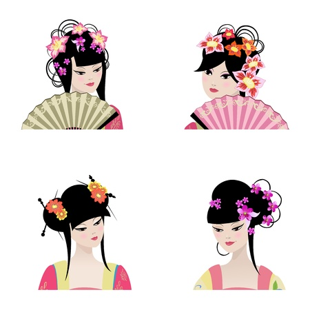 Portrait of a beautiful Chinese girls  Vector