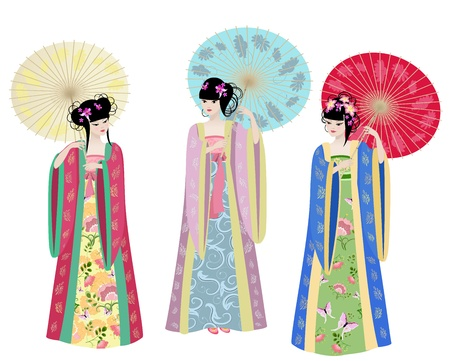Beautiful Asian girls in costumes Illustration