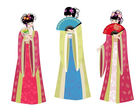 geisha kimono: Beautiful Asian girls in costumes Illustration