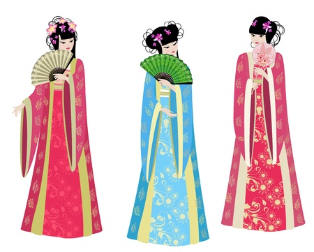 Beautiful Chinese girls in costumes Vector