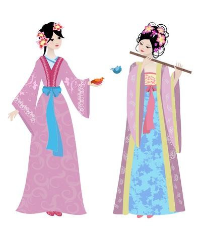 geisha kimono: Beautiful Chinese girls in costumes