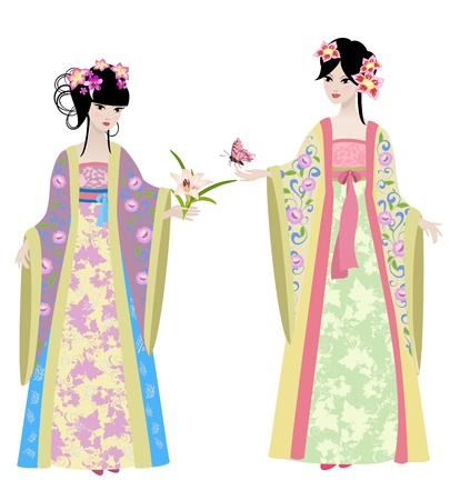 Beautiful Chinese girls in costumes Stock Vector - 14173569