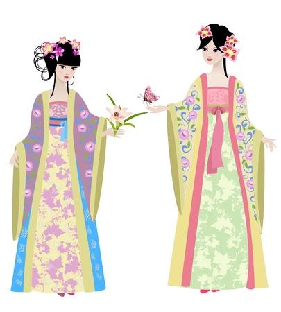 muneca vintage: Hermosas chicas en trajes chinos Vectores
