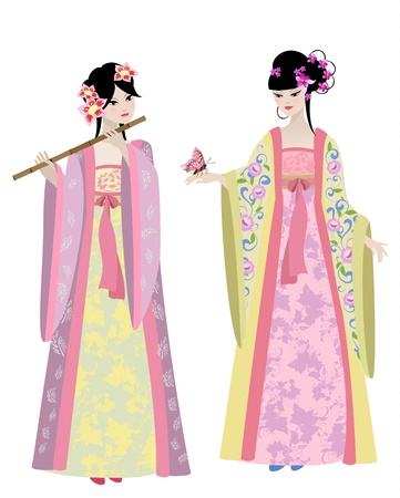 ni�as chinas: Hermosas chicas en trajes chinos Vectores