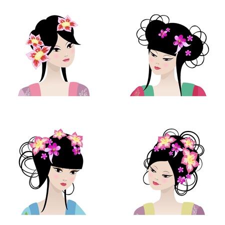 chinese cartoon: Portrait of a beautiful Chinese girls