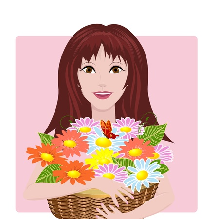 girl with basket of flowers Vector
