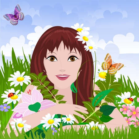 Woman relaxing in nature Vector
